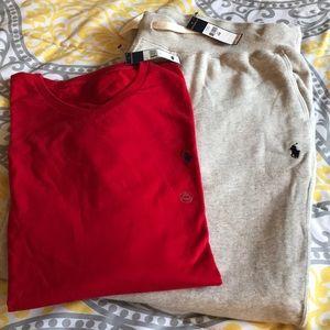 Polo V-Neck Tee (Red) , Polo Sweatpants (Oatmeal)